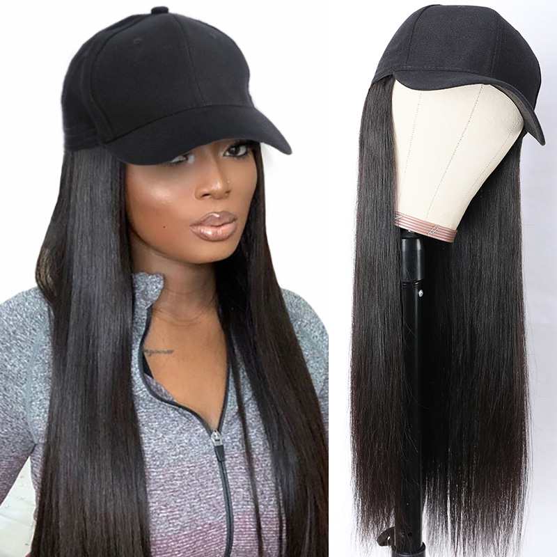 Baseball Hat With Ponytail Wig Black Straight Hair Wig Remy Human Hair 20 Inch