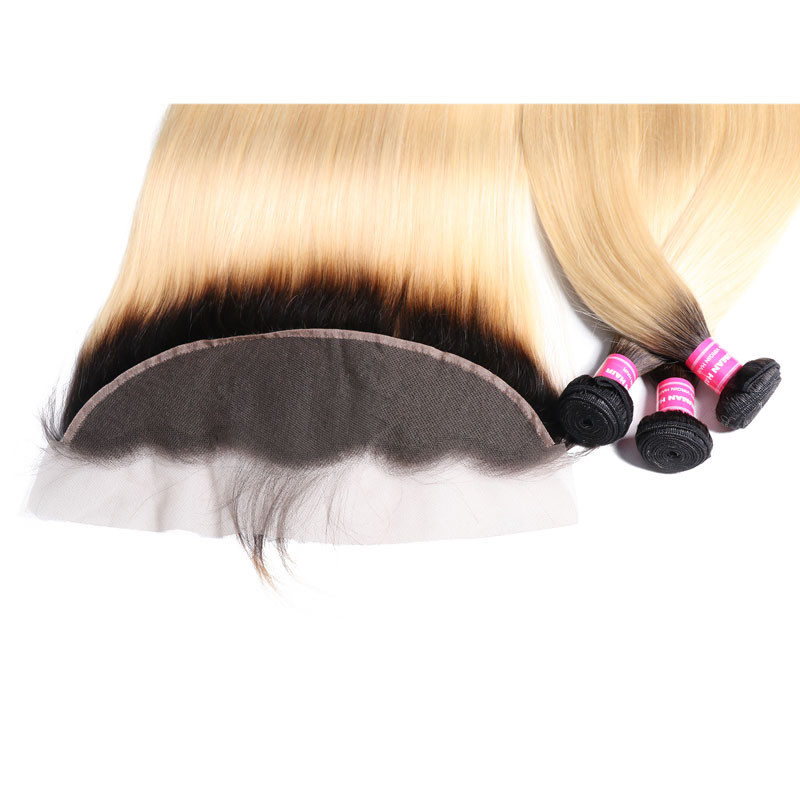 Nadula 3 Bundles Hair With Lace Frontal Closure 13x4 Ear To Ear Straight Virgin Hair Weave Ombre Color