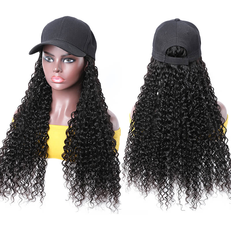 Baseball Hat Wigs For Cancer Patients Jerry Curl Black Long Hair Wig Human Hair 20 Inch