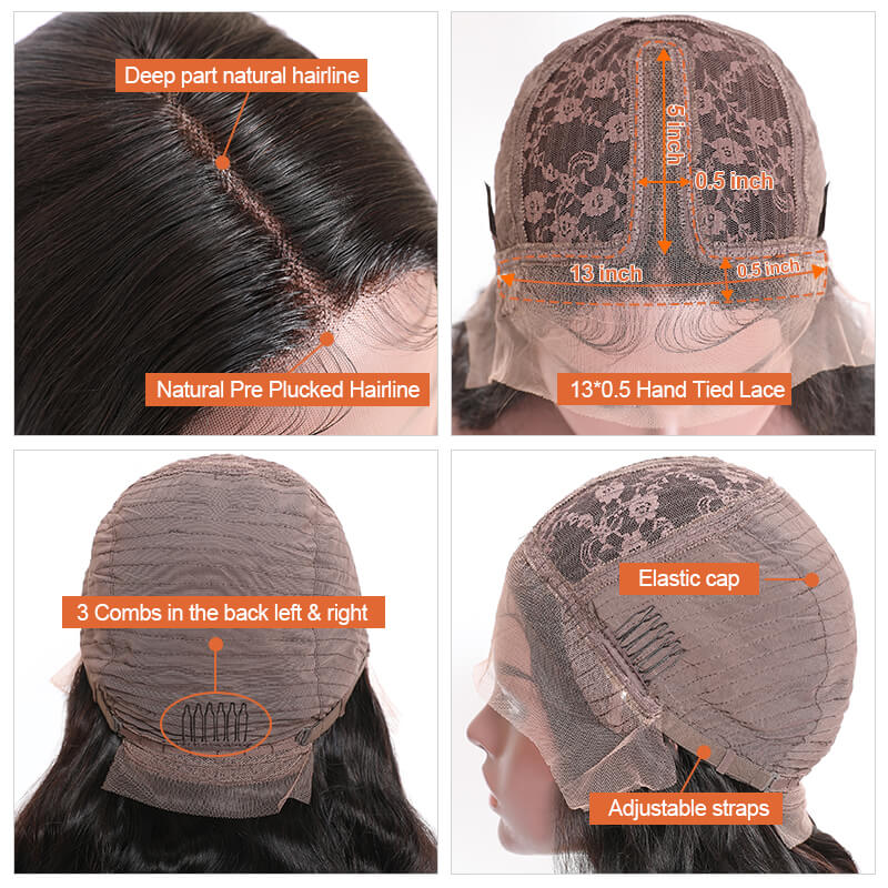 Lace Front Closure Wigs Fake Scalp Remi Hair Wigs Midle Part Body Wave Natural Black 14-24 Inch