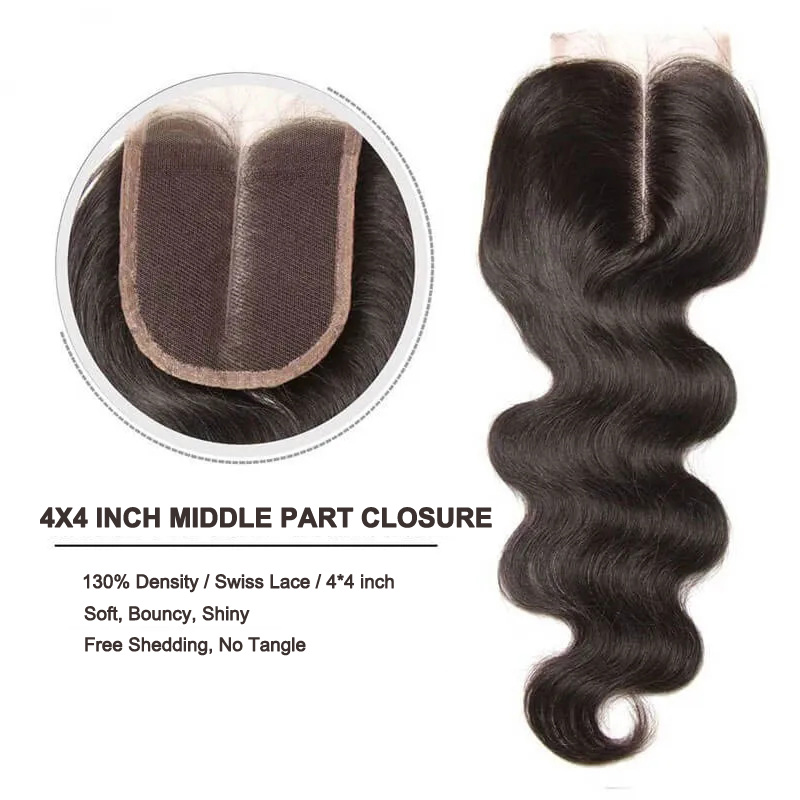 middle part 4*4 Inch body wave virgin hair closure