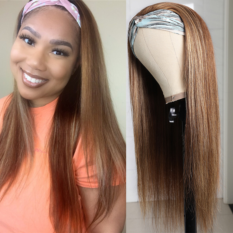 Long Ombre Headband Remi Half Wig TL412 Color Straight Wig With Adjustable Straps 14-26 Inch 150% Density