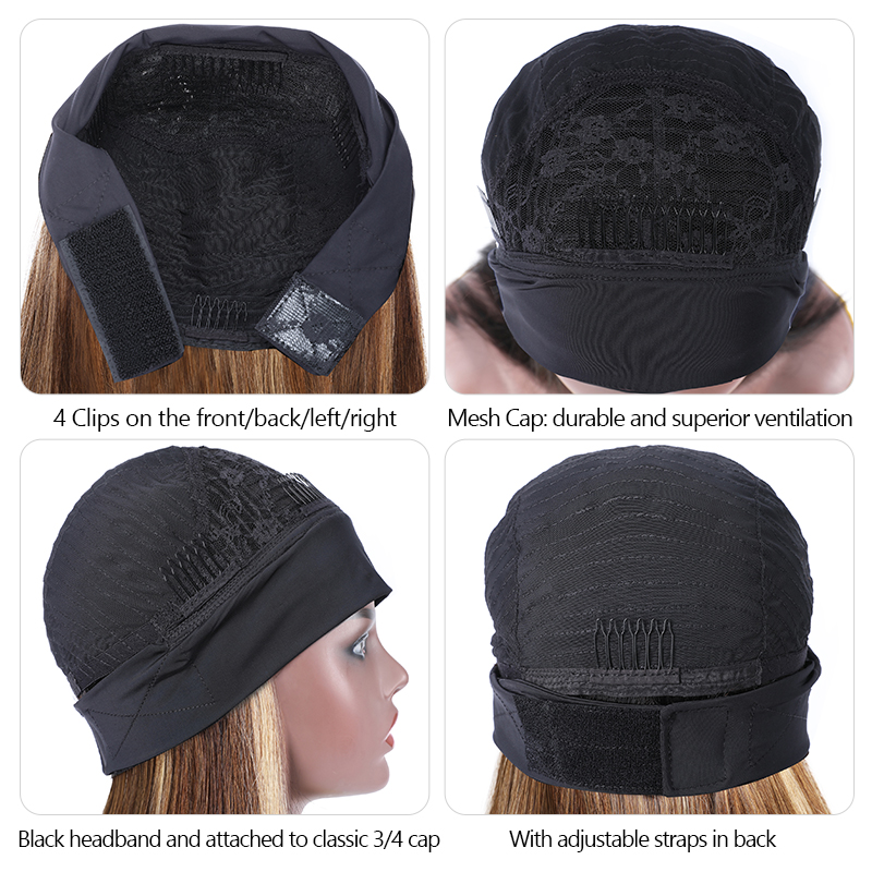 Black Roots Blonde Hair Ombre Half Wig With Headband 1BTL412 Color Remy Wig With Adjustable Straps 150% Density