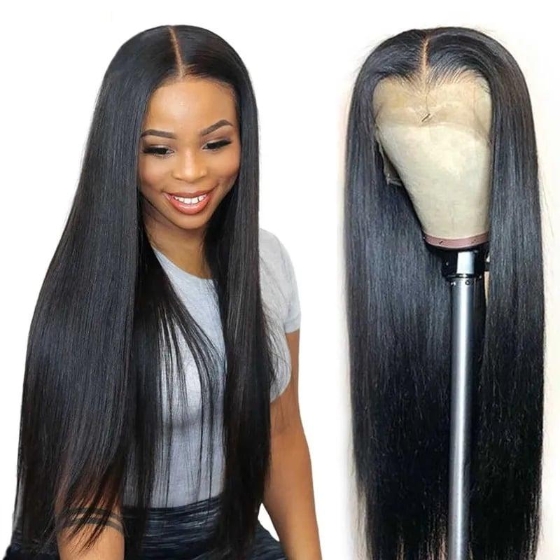 Nadula Hot Long Straight Real Human Hair 13*4 lace front Wig Natural Brazilian Virgin Hair 130% Density Wig