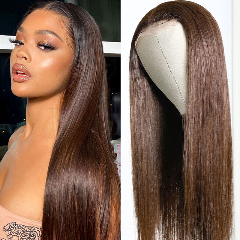 #4 Brown Color Straight Lace Wig
