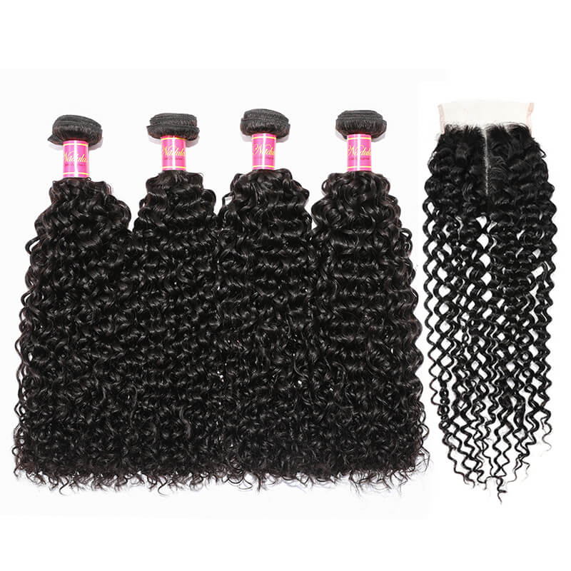 Unprocessed Curly Hair Bundles With Closure