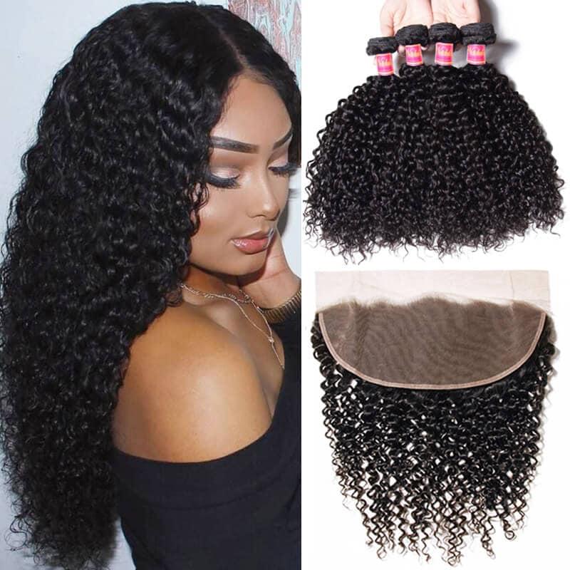 Nadula 4pcs Curly Virgin Hair Bundles With 13x4 Lace Frontal Closure