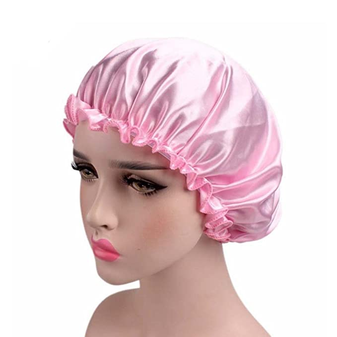 Nadula Satin Pink Night Cap Sleeping Hat Cap Silk Night Cap For Human Hair Silky Satin