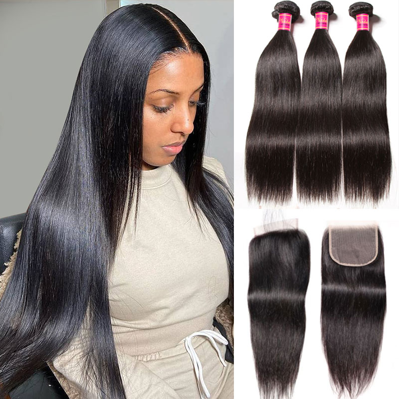 HD Lace Closure With 3 Bundle Straight Hair