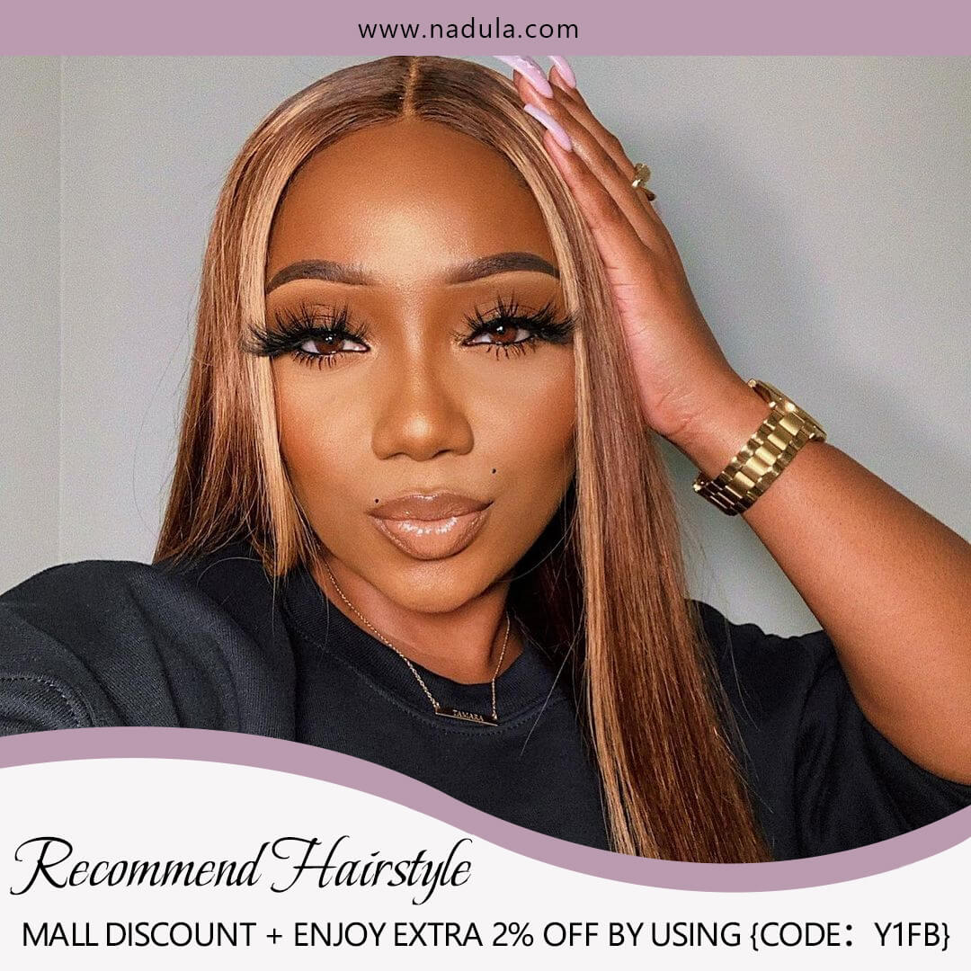 Nadula Straight Blond Wig Brown Wig Highlight Color Hand Tied Lace Wigs Natural Hairline