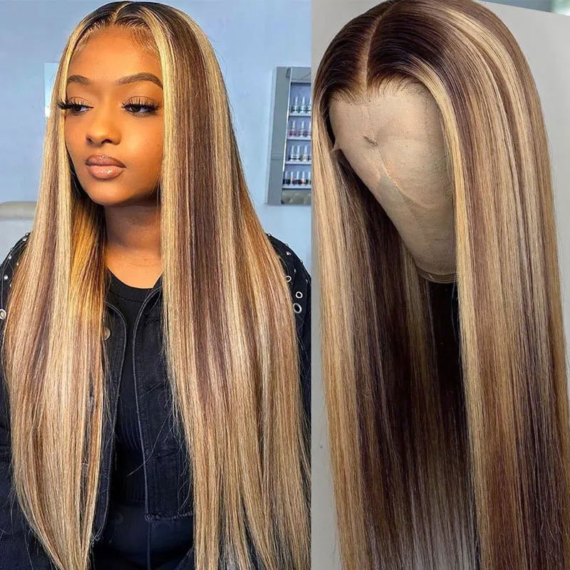 Blonde Highlight Straight Lace Front Wigs