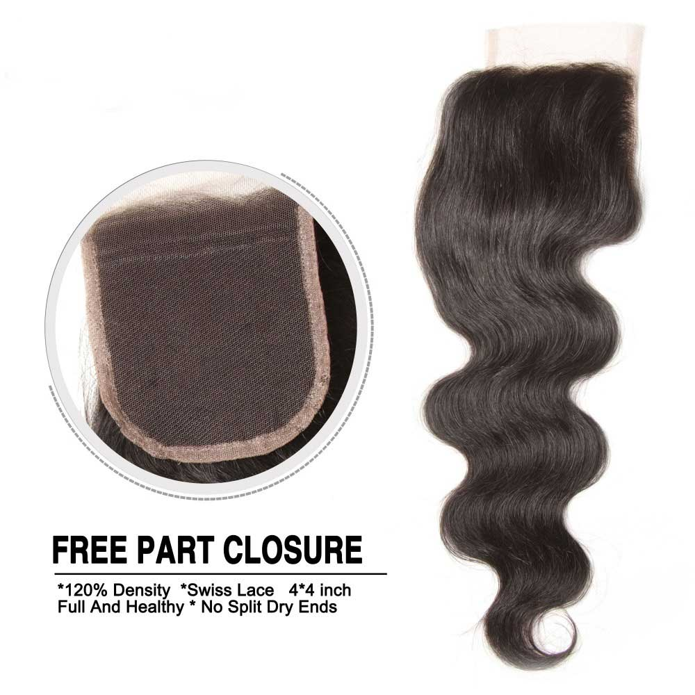 body wave human hair closure