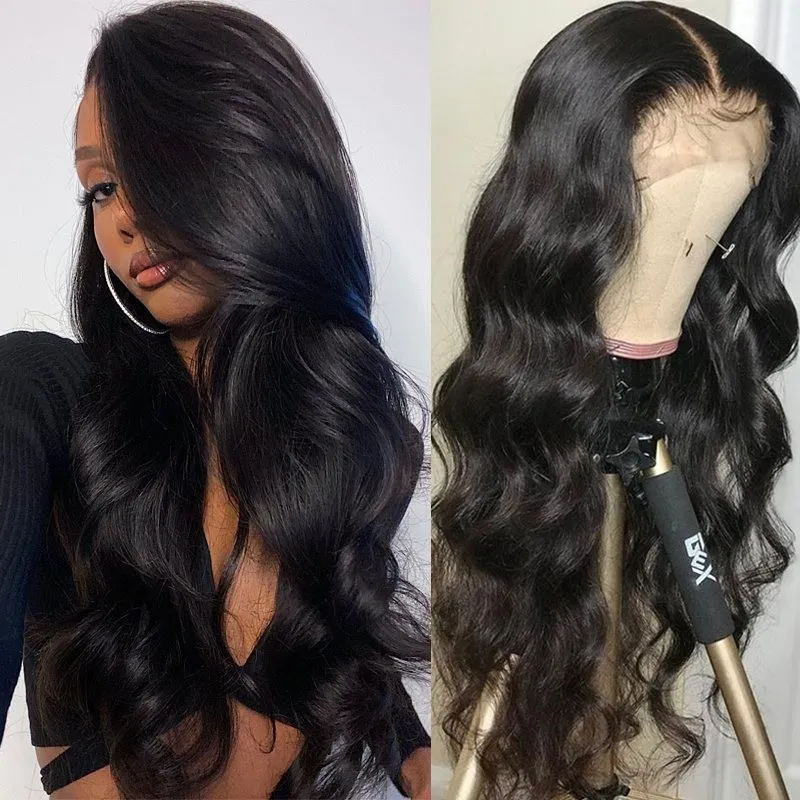 Nadula 13 by 4 by 0.75 Inch Three Part Lace Part Wig 150% Density Wigs With Baby Hair Body Wave Virgin Hair Wigs