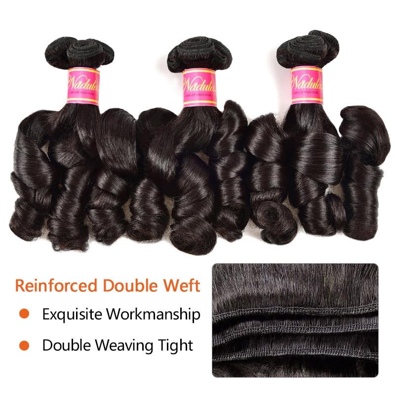 Nadula Hair Weave Funmi Curl Weft Hair Extensions 100% Remy Human Hair Natural Black 3 Bundles
