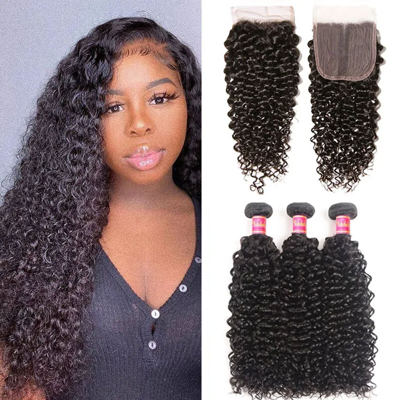 Jerry Curly Virgin Hair 3 Bundles With T Part Closure