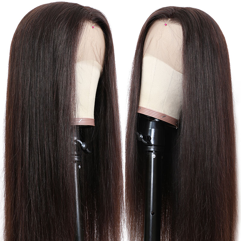 Nadula #2 Dack Brown 360 Lace Front Wig Long Straight Wig For Women Natural Hairline