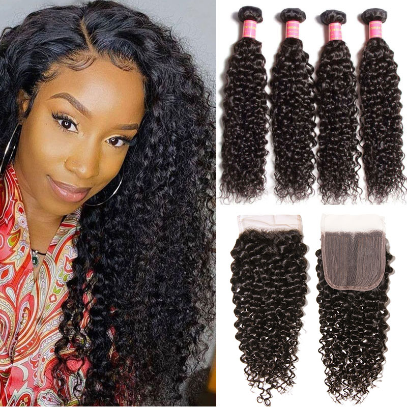 4 Bundles Curly Hair Weaves With T Part Lace Closure