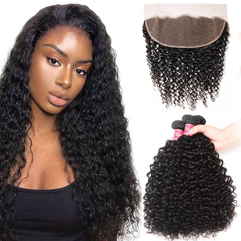 Nadula 3 Bundles Curly Virgin Hair Weave With 13x4 Lace Frontal Closure