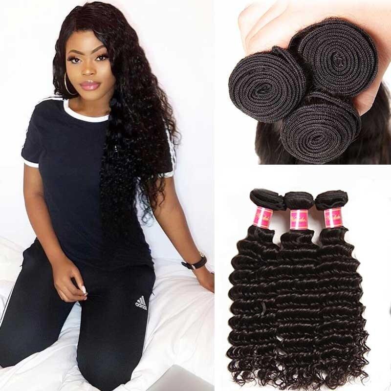 f566da8f6 Nadula Virgin Indian Hair 3 Bundles Deep Wave Natural Black Virgin ...