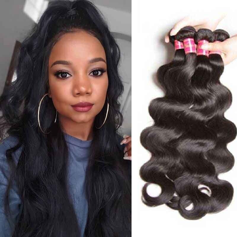 Nadula Soft Brazilian Virgin Hair Body Wave 4 Bundles Natural Human ... f58f685d681c