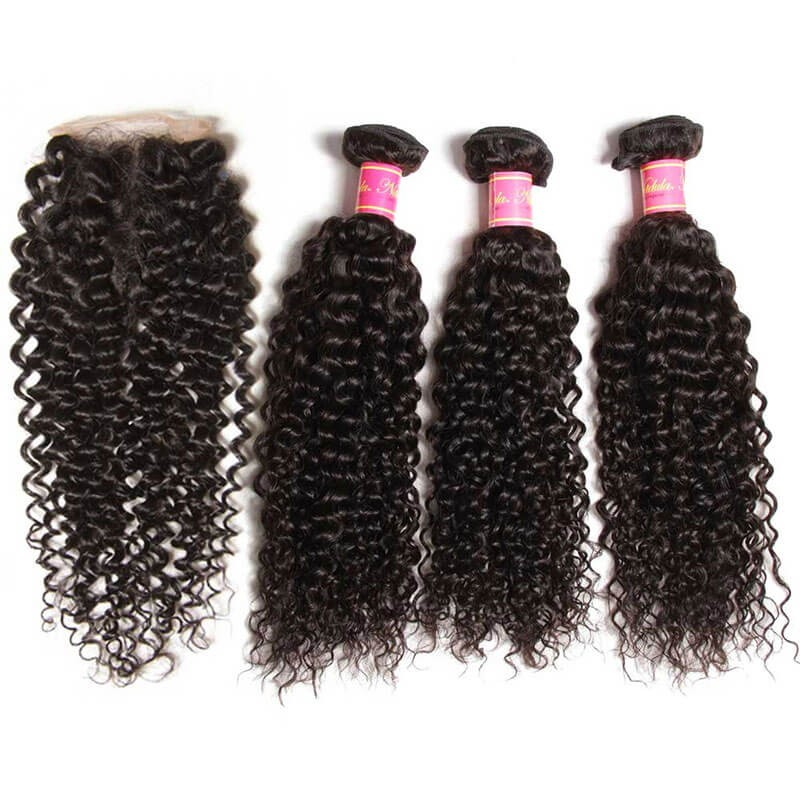 Curly Virgin Hair Weave 3 Bundles With Lace Closure 4x4 Nadula
