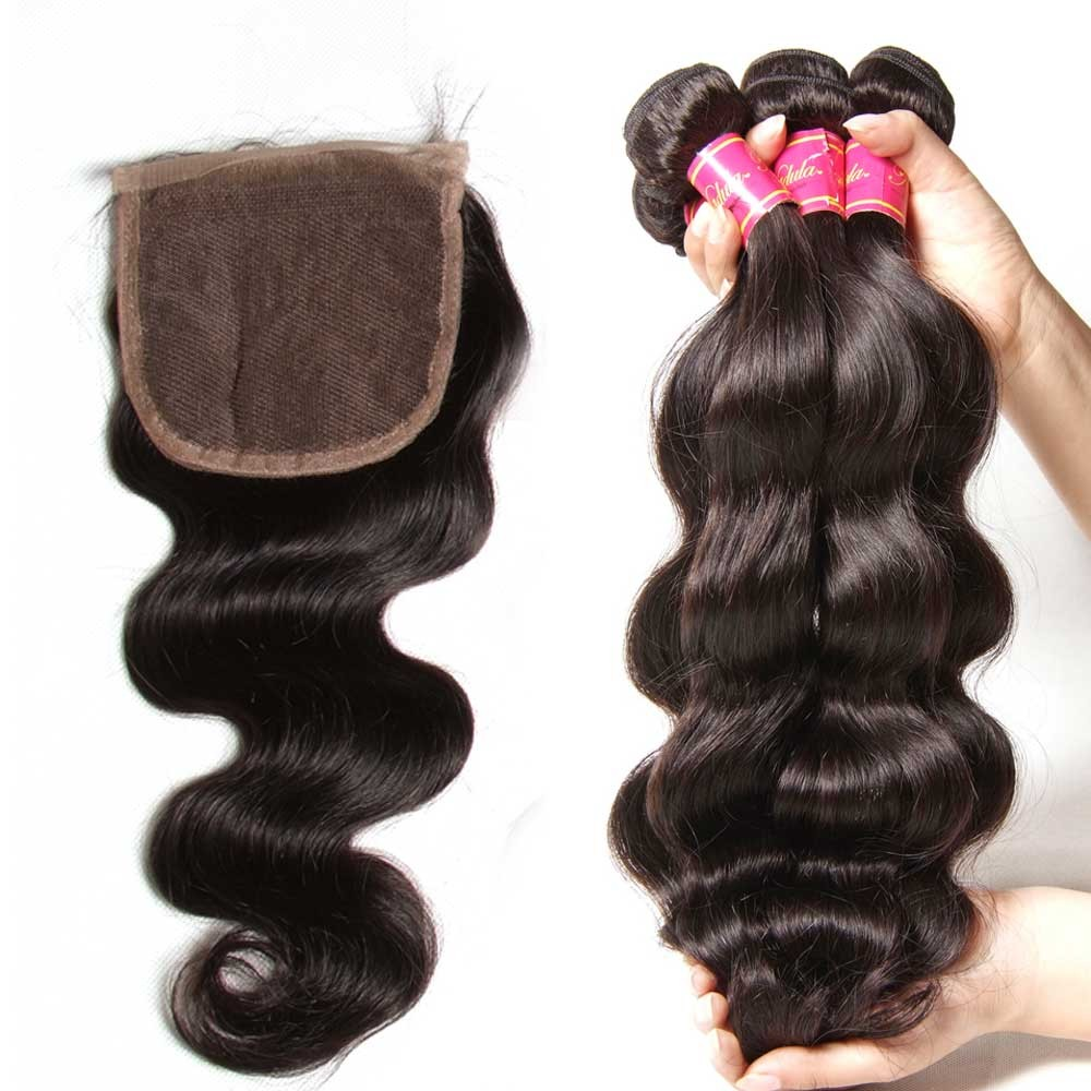 Nadula 4 Bundles Body Wave Hair Weave With Lace Closure 100