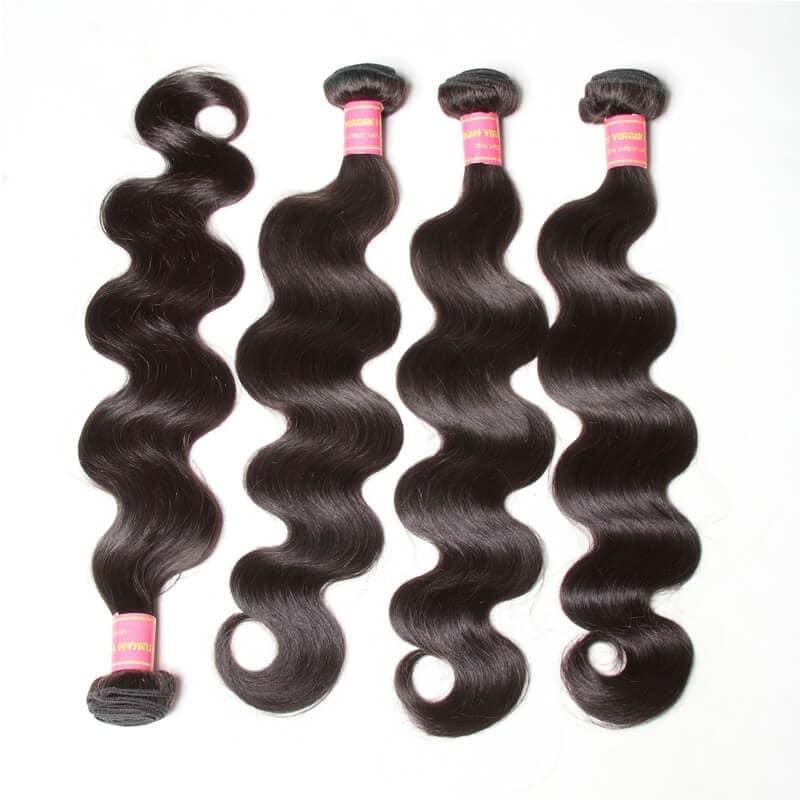 Nadula Cheap Brazilian Hair 4 Bundles Pcs Natural Black Virgin