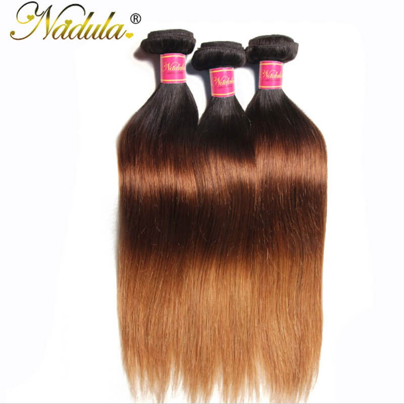 Nadula Cheap Ombre Straight Hair Weave 3 Bundles 3 Tone Color Ombre