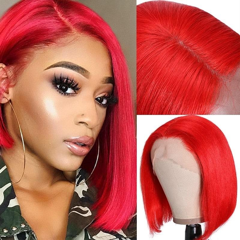 Nadula Remy Red Short Hair Wig Human Hair Blunt Cut Bob Wig 13x4 Lace Front Top Quality And Natural Looking Nadula