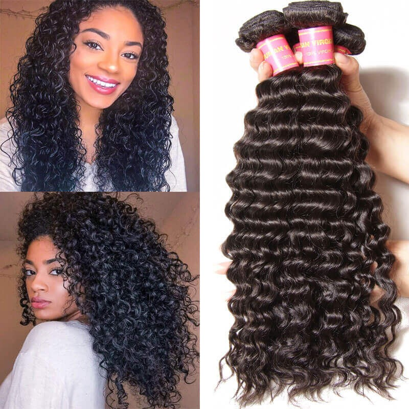 e257f1bf8a9ac3 ... Weave 3 Bundles Virgin Malaysian Deep Wave Human Hair Weft For Sale.  AddThis Sharing Buttons