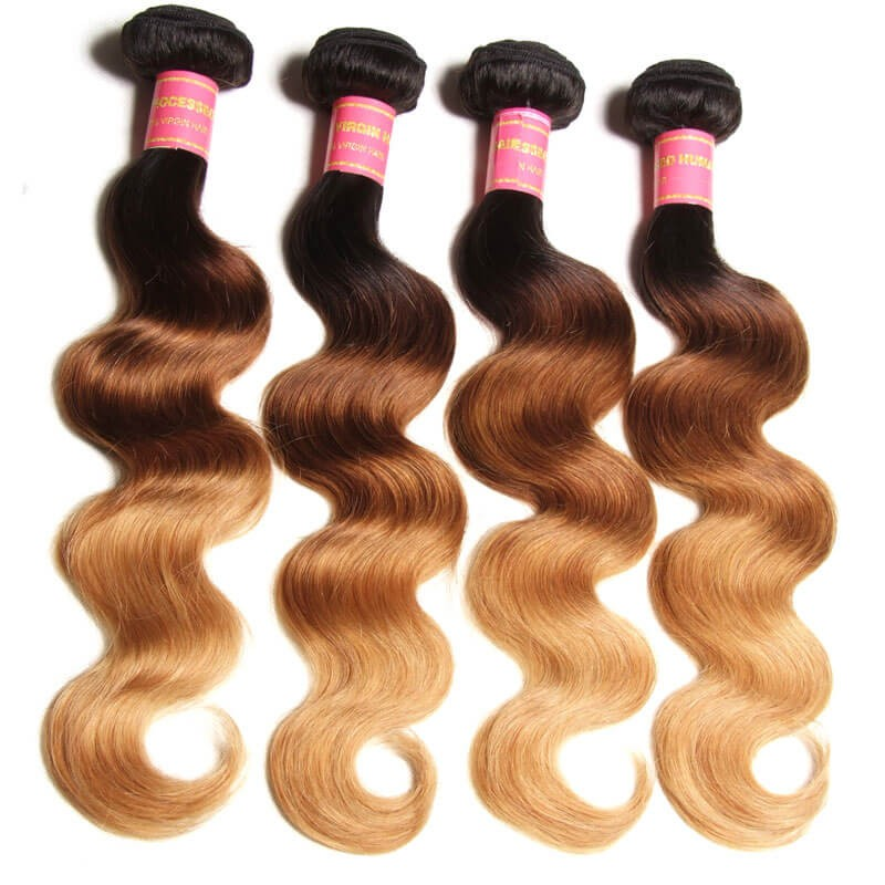 Nadula Offer 16in-26in Ombre Hair Weave,Beautiful Ombre Hair Extensions 3  Tone Color T1b/4/27 ,4 Bundles Brazilian(Peruvian,Malaysian,Indian) Ombre  ...