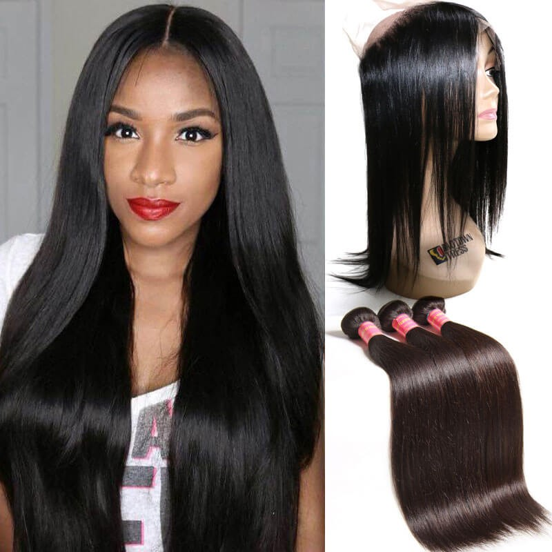 Nadula Straight Virgin Hair 3 Bundles With 360 Lace Frontal Closure