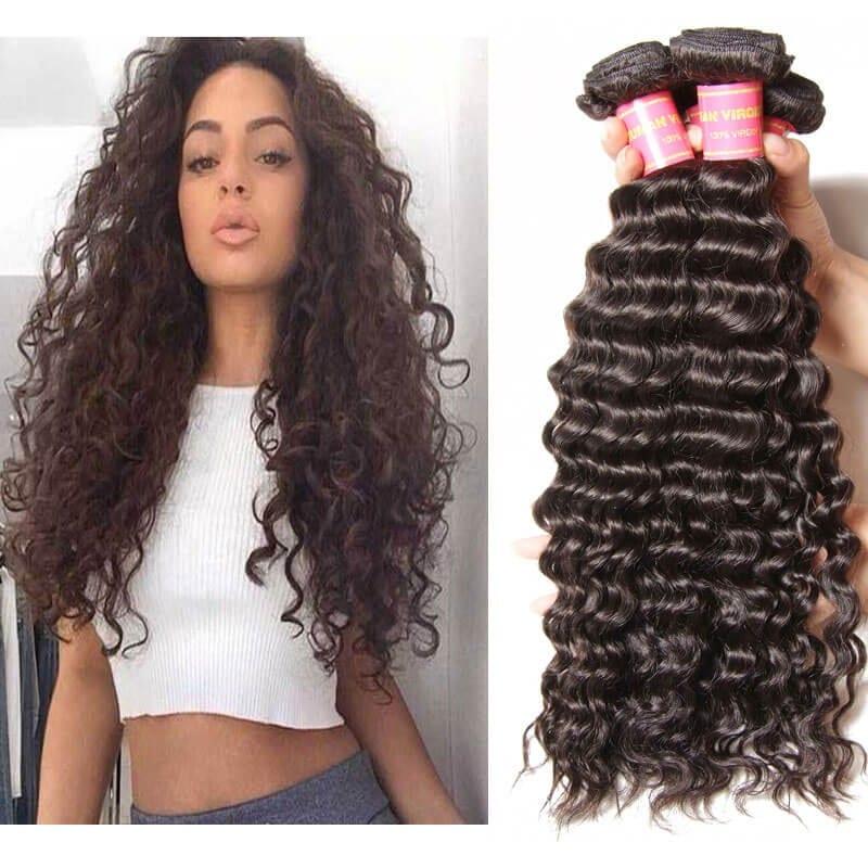 Ever Beauty Brazilian Hair Weave Bundles Body Wave Buddles Human Hair Extension Remy 3 Bundle Deals 10-28 Inches Natural Black Human Hair Weaves