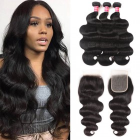 Nadula Transparent Pre Pluck Lace Closure With Body Wave Virgin Hair Weave 3 Bundles Soft Unprocessed Virgin Human Hair