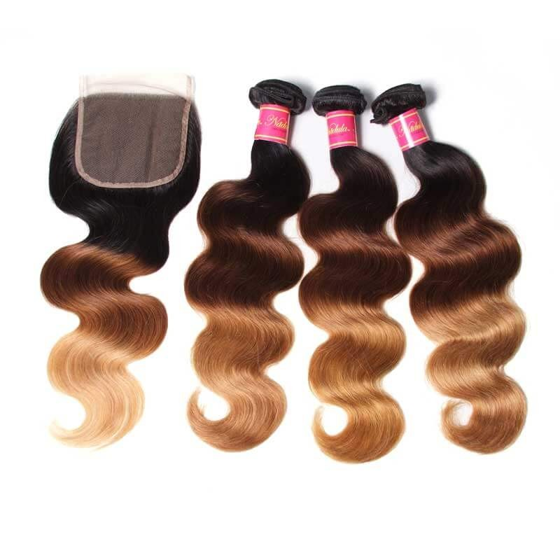 Nadula Hair T1B/4/27 Ombre 3 Bundles Body Wave With Closure 100% Virgin Human Hair