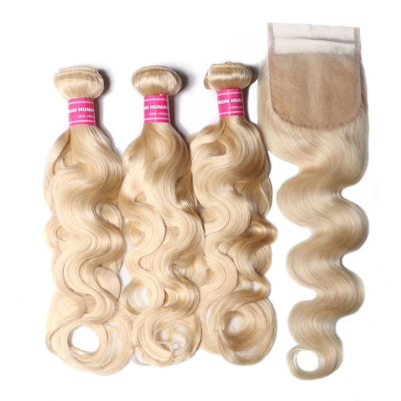 Nadula Best Virgin Human Hair 3PCS 613 Blonde Virgin Human Hair Bundles With Lace Closure Body Wave Hair