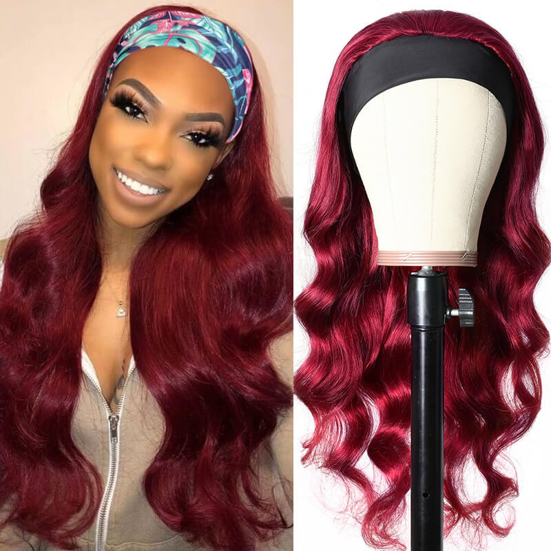 Burgundy Wigs Adjustable Headband Wig Glueless Human Hair Wigs With Pre-attached Scarf