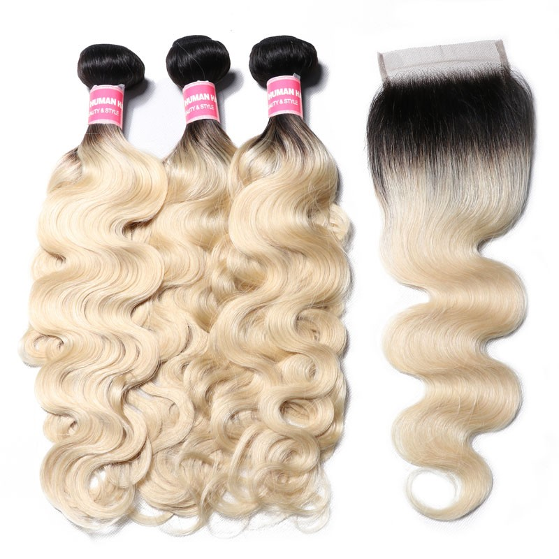 Nadula 1B/613 Body Wave Ombre Hair 3 Bundles With 4x4 Lace Closure Nadula Best Virgin Human Hair