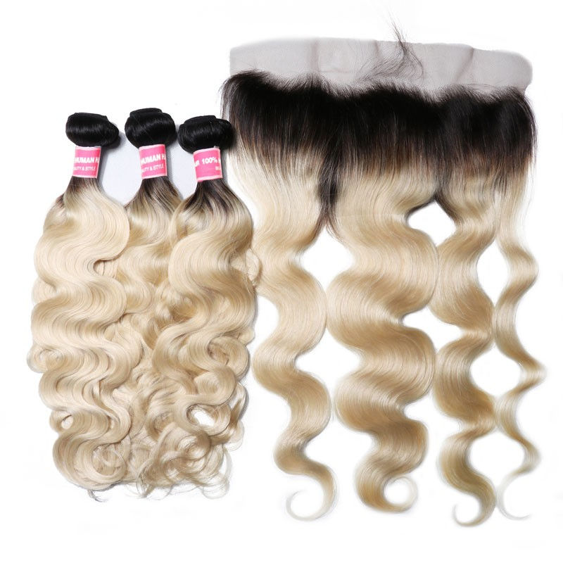 Nadula Human Hair Weave Body Wave Virgin Hair 1b/613 3 Bundles With Lace Frontal Closure 13x4 Wholesale Price
