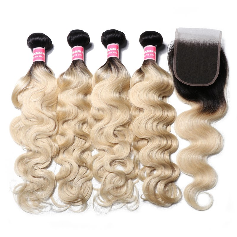 Nadula 1b/613 T Color Light Blonde Hair Body Wave 4 Bundles with 4*4 Lace Closure