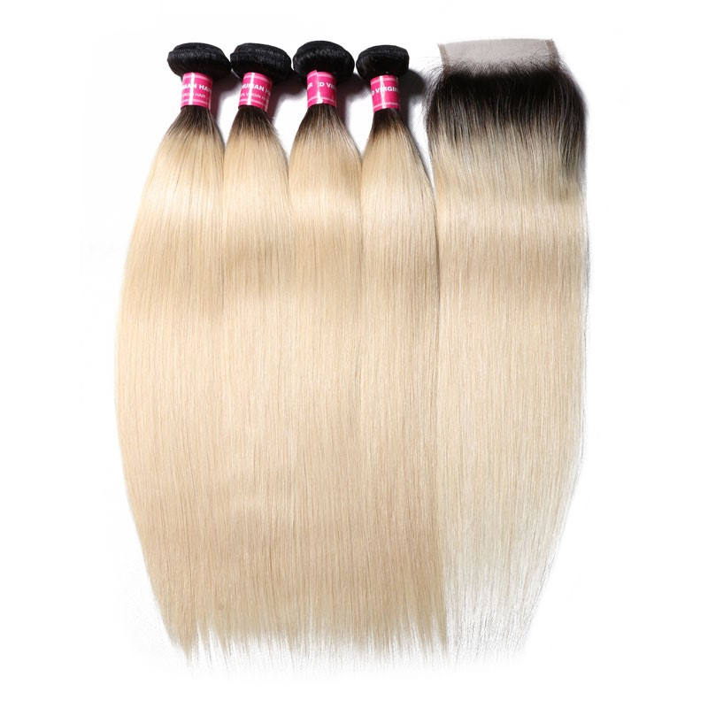 Nadula Light Color 4 Bundles Virgin Straight Hair Weave With Lace Frontal Closure 1B/613
