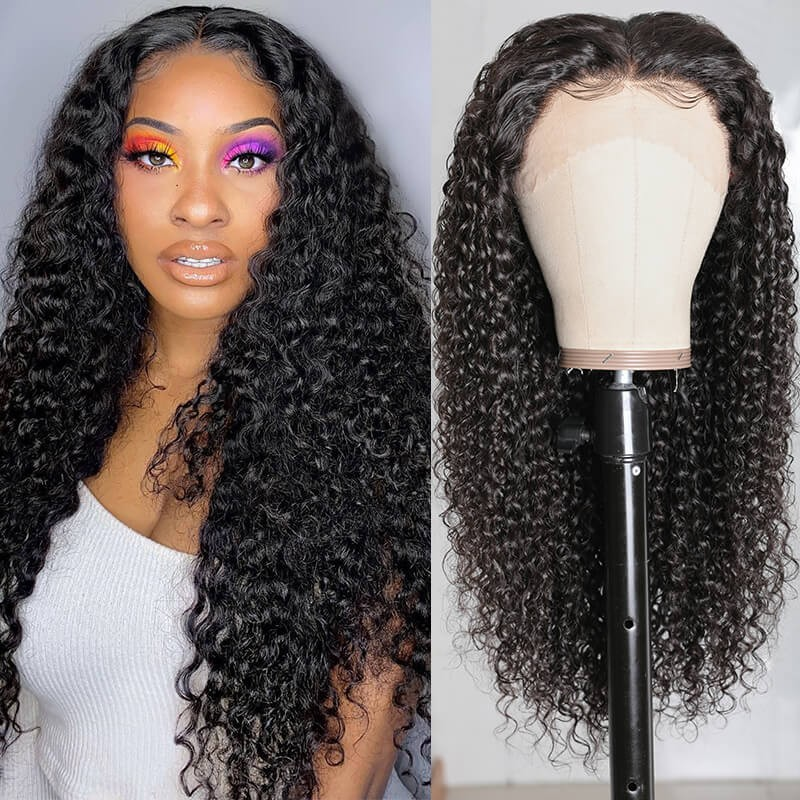 Natural Long Jerry Curly 13*4 Lace Front Wigs High Quality 100% Human Hair 130% Density