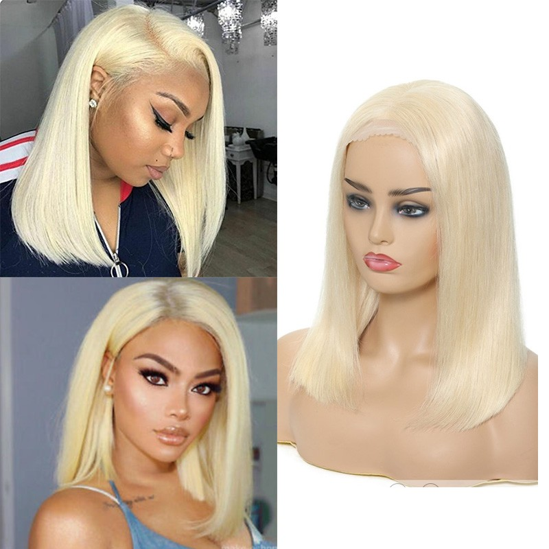 Nadula Transparent Lace Remy Straight Wig 100% Human Hair Hot Bob Wigs 613 Color 150% Density Wigs
