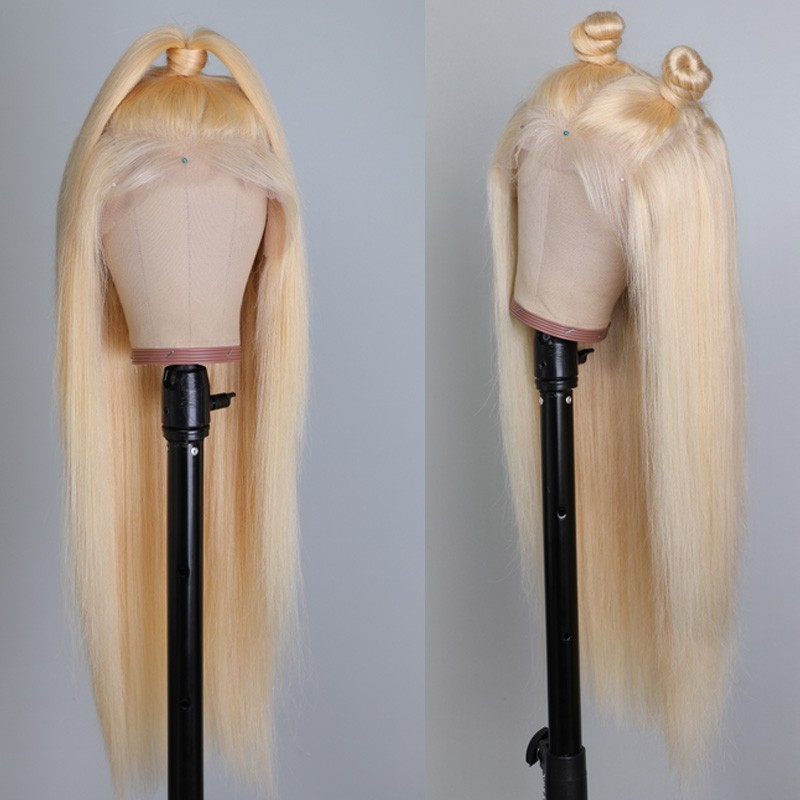 Nadula High Quality 100% Human Hair Lace Front Wigs Natural 613 Color 130% Density Straight Wigs