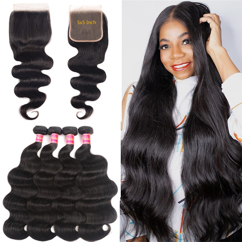 Nadula Body Wave 4 Bundles With 5×5 Transparent Lace Closure Virgin Human Hair