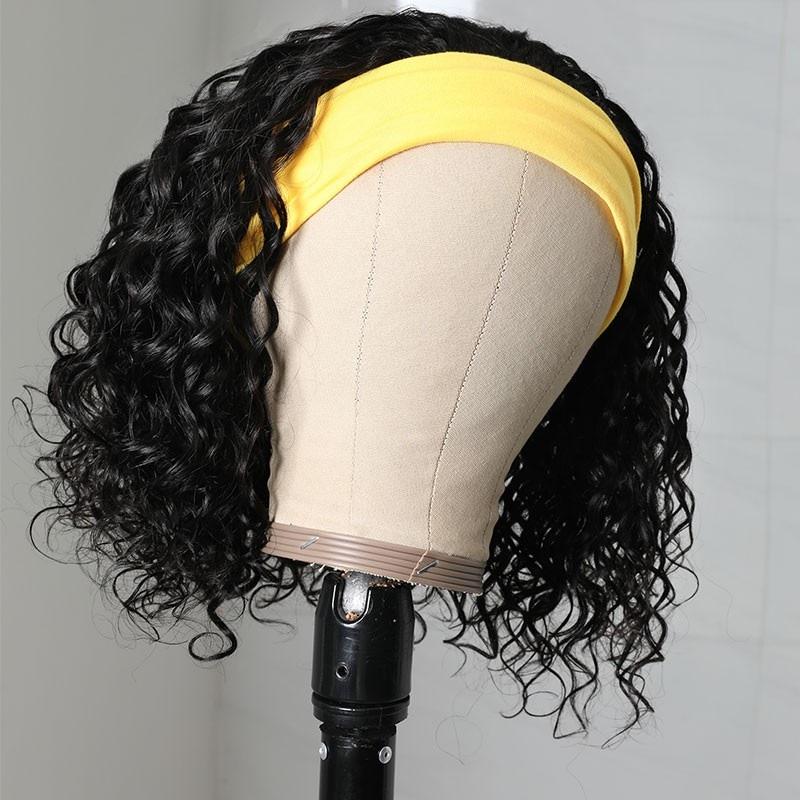 150% Density Human Hair Headband Wigs Natural Black