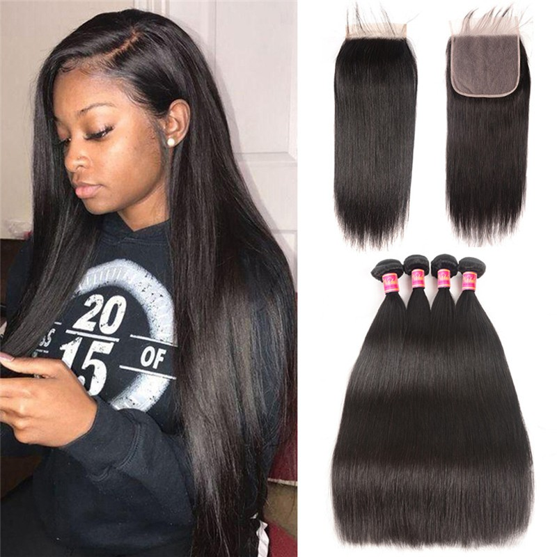 Nadula Straight Weave 4 Bundles With 6X6 Lace Closure With Baby Hair
