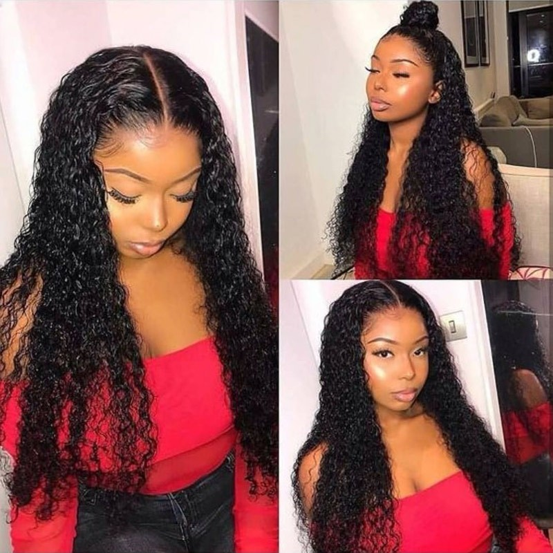 Nadula Natural Color Lace Frontal Wigs Jerry Curly Virgin 150% Density