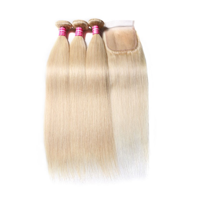 Nadula 3PCS 613 Blonde Hair Bundles With Closure 16-24 Inch Straight Virgin Human Hair