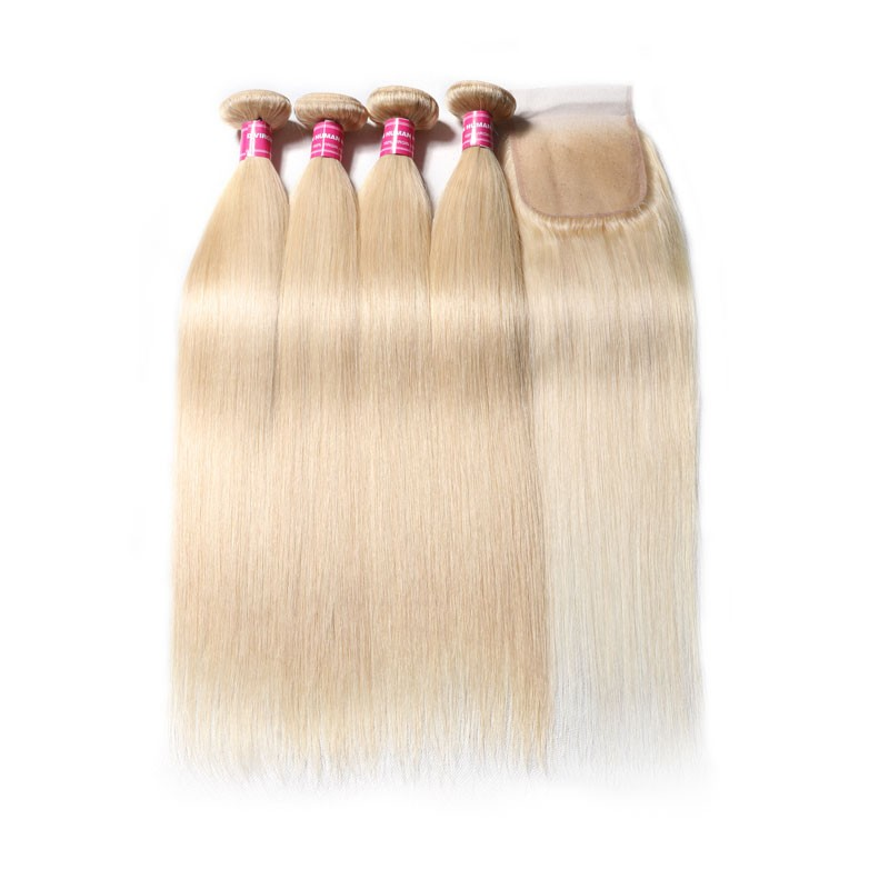 Nadula 613 Blonde Straight Hair 4 Bundles with 13*4 Lace Frontal on Deals